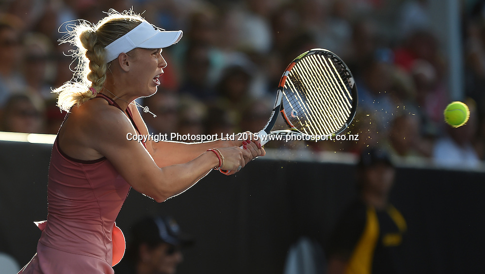 Denmark's Caroline Wozniacki in action during her first round singles match on Day 2 at the ASB Classic WTA International. Auckland, New Zealand. Tuesday 6 January 2015. Copyright photo: Andrew Cornaga/www.photosport.co.nz