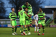 Forest Green Rovers Reuben Reid(26) scores a goal 1-0 and celebrates during the EFL Sky Bet League 2 match between Forest Green Rovers and Port Vale at the New Lawn, Forest Green, United Kingdom on 6 January 2018. Photo by Shane Healey.