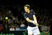 Andy Murray of Great Britain in action during the 2016 Davis Cup Semi Final between Great Britain and Argentina at the Emirates Arena, Glasgow, United Kingdom on 17 September 2016. Photo by Craig Doyle.