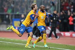 Football: Germany, 1. Bundesliga, Braunschweig, 15.02.2014<br />Domi Kumbela (Eintracht Braunschweig) goal celebration<br /> copyright: pixathlon