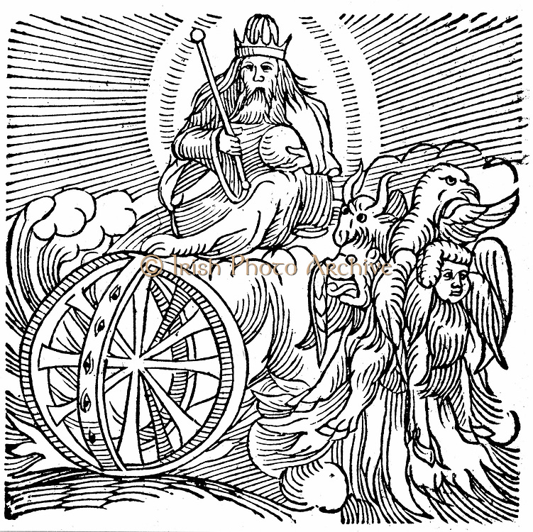 Ezekiel's vision of chariot in sky c.614 BC. 'Bible' Ezekiel II:9. One modern explanation is that Ezekiel, on of four great Hebrew prophets, observed parhelia (mock suns), a phenomenon caused by reflection from water droplets or minute particles in the earth's atmosphere. From Conrad Lycosthenes 'Prodigiorum ac ostentorum chronicon', Basel, 1557. Woodcut