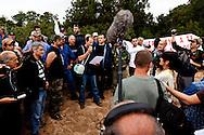 demontration of Corsica libera, independantist movement in front of the house of Christian Clavier, at punta D oro beach near Porto Vechio, Corsica south  /  Manifestation du mouvement independantiste Corsica libera , sur la plage de Punta d oro pres de Bonifacio, devant la maison de Christian clavier en Corse du sud
