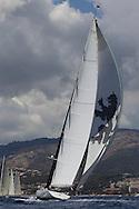 SPAIN, Palma. 22nd June 2013. Superyacht Cup. Salperton IV, 148ft/(45m), designed by Dubois, built by Fitzroy Yachts.