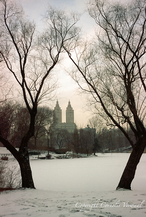 The Lake in Central Park covered in ice and snow