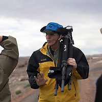 050115      Cayla Nimmo<br /> <br /> Jerry Ginsberg, explains his process when taking a photograph during his self lead photography tour through the Crystal Forest trail at the Petrified National Forest Saturday.