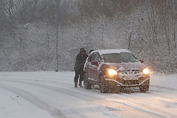 Commuters struggle to get to work as heavy overnight snow causes disruption in rural Wiltshire, Corsham, UK, January 18 2013. Photo by Mark Chappell / i-Images.