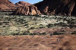 NAMIBIA DAMARALAND 25APR14 - <br /> Tourists climb onto the granite rocks at the Spitzkoppe Nature Reserve, Damaraland, Namibia.<br /> <br /> <br /> The granite is more than 700 million years old and the highest outcrop rises about 1,784 metres above sea level. The peaks stand out dramatically from the flat surrounding plains, with the highest peak reaching about 700 m  above the floor of the desert below.<br /> <br /> jre/Photo by Jiri Rezac<br /> <br /> <br /> <br /> © Jiri Rezac 2014