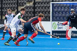 Hampstead & Westminster's Will Calnan. Hampstead & Westminster v Surbiton - Men's Hockey League Final, Lee Valley Hockey & Tennis Centre, London, UK on 29 April 2018. Photo: Simon Parker