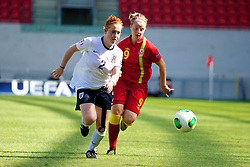 LLANELLI, WALES - Thursday, August 22, 2013: Wales' Hannah Keryakoplis in action against England's Martha Harris during the Group A match of the UEFA Women's Under-19 Championship Wales 2013 tournament at Parc y Scarlets. (Pic by David Rawcliffe/Propaganda)