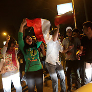 Egyptians of all ages celebrate the departure of ex president Morsi in the early hours of the morning - Cairo 04/07/2013