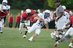 10 Sep 2005<br /> <br /> Scott Phaydavong cuts up the middle with Sesamir Yearby in pursuit.<br /> <br /> Illinois State University V Drake.  Hancock Stadium, Illinois State University, Normal IL
