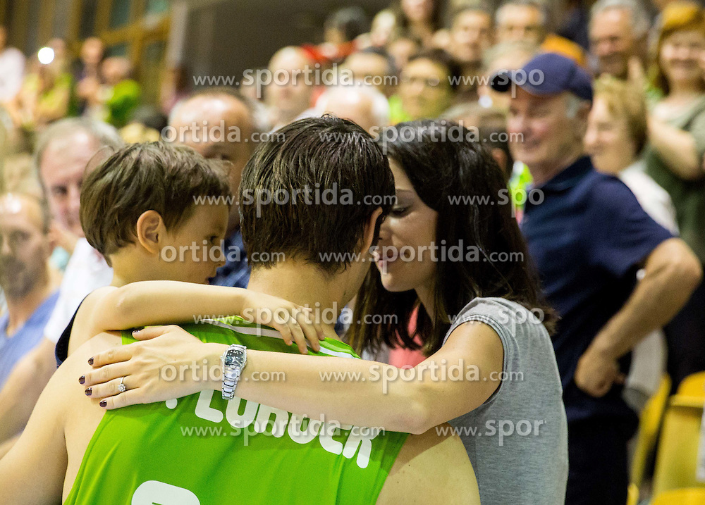 Domen Lorbek of Slovenia with his wife and son during friendly basketball match between National teams of Slovenia and Georgia in day 2 of Adecco Cup 2014, on July 25, 2014 in Dvorana OS 1, Murska Sobota, Slovenia. Photo by Vid Ponikvar / Sportida.com