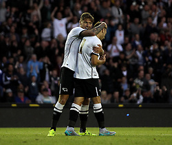 Derby County's Jeff Hendrick celebrates with Derby County's Andreas Weimann - Mandatory by-line: Robbie Stephenson/JMP - 07966386802 - 29/07/2015 - SPORT - FOOTBALL - Derby,England - iPro Stadium - Derby County v Villarreal CF - Pre-Season Friendly