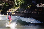 Surfer on River, High Wycombe, UK, 1980s.