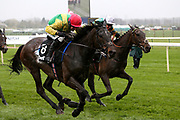 Winner - Supasundae and Robbie Power (red cap) and second placed Buveur D'Air with Barry Geraghty (white cap) battle at the finish in the 3.25pm The Betway Aintree Hurdle (Grade 1) 2m 4fduring the Grand National Festival Week at Aintree, Liverpool, United Kingdom on 4 April 2019.