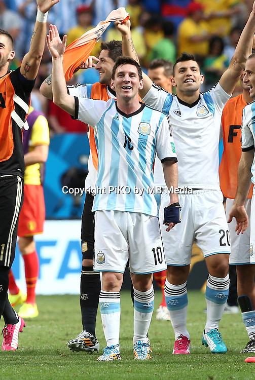 Fifa Soccer World Cup - Brazil 2014 - <br /> ARGENTINA (ARG) Vs. BELGIUM (BEL) - Quarter-finals - Estadio Nacional Brasilia -- Brazil (BRA) - 05 July 2014 <br /> Here Argentine player Lionel Messi celebrating after finish the match<br /> &copy; PikoPress