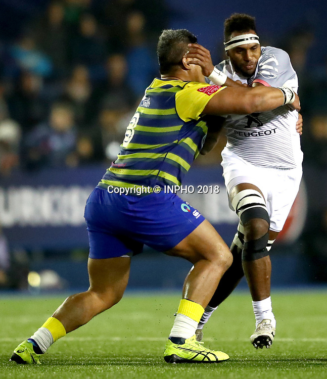 European Rugby Challenge Cup Round 5, BT Sport Cardiff Arms Park, Cardiff, Wales 14/1/2018<br /> Cardiff Blues vs Toulouse<br /> Cardiff Blues' Nick Williams and Semi Kunatani of Toulouse<br /> Mandatory Credit &copy;INPHO/James Crombie