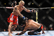 "ATLANTA, GEORGIA, SEPTEMBER 6, 2008: Ryo Chonan (left) evades a takedown attempt by Roan Carneiro during ""UFC 88: Breakthrough"" inside Philips Arena in Atlanta, Georgia on September 6, 2008"