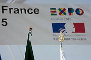 Banner at the ceremony start of works of the France Pavilion at Expo 2015, Rho-Pero, Milan, September 29, 2014. &copy; Carlo Cerchioli<br /> <br /> Striscione alla cerimonia di inizio lavori della costruzione del padiglione della Francia al Expo Milano 2015, Rho-Pero, Milano, 29 Settenmbre 2014.