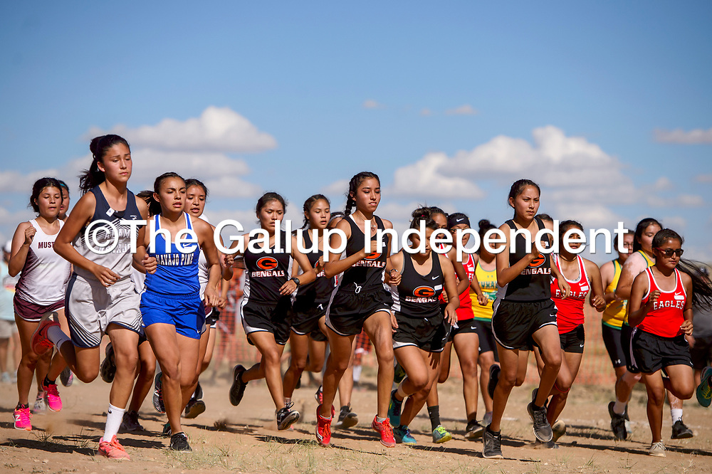 Racers sprint off the start line during the girls varsity race of the Tohatchi Cross Country meet in Tohatchi Friday.