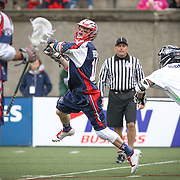 Stephen Berger #10 of the Boston Cannons shoots the ball during the game at Harvard Stadium on April 27, 2014 in Boston, Massachusetts. (Photo by Elan Kawesch)