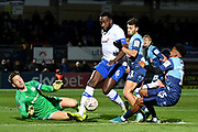Tranmere Rovers defender Manny Monthe (6) on defensive duties helped by Tranmere Rovers goalkeeper Scott Davies (1) during the The FA Cup match between Wycombe Wanderers and Tranmere Rovers at Adams Park, High Wycombe, England on 20 November 2019.