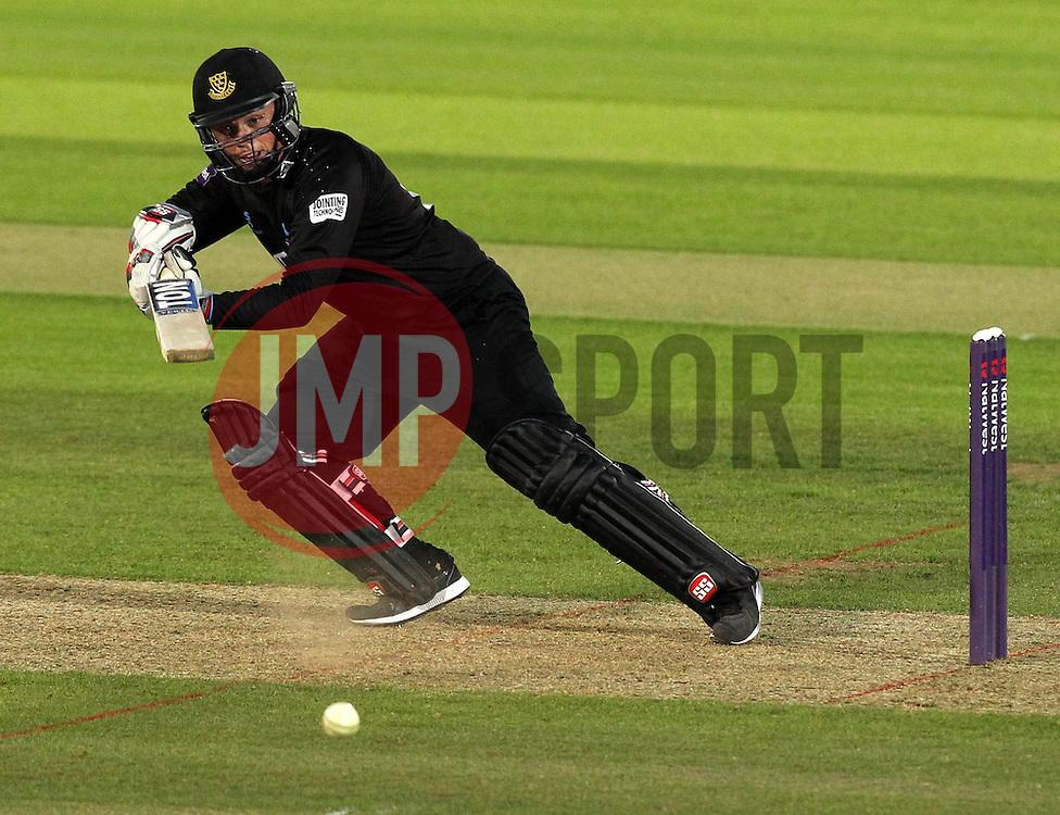 Sussex's Matt Machan cuts at shot onto the offside - Photo mandatory by-line: Robbie Stephenson/JMP - Mobile: 07966 386802 - 19/06/2015 - SPORT - Cricket - Southampton - The Ageas Bowl - Hampshire v Sussex - Natwest T20 Blast