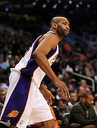 Feb. 4, 2011; Phoenix, AZ, USA; Phoenix Suns guard Vince Carter (25) reacts on the court against the Oklahoma City Thunder at the US Airways Center. The Thunder defeated the Suns 111-107. Mandatory Credit: Jennifer Stewart-US PRESSWIRE