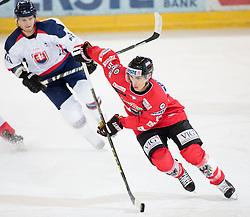 12.02.2016, Olympiaworld, Innsbruck, AUT, Euro Ice Hockey Challenge, Österreich vs Slowakei, im Bild Richard Rapac (SVK) und Daniel Oberkofler (AUT) // Richard Rapac of Slovakia and Daniel Oberkofler of Austria during the Euro Icehockey Challenge Match between Austria and Slovakia at the Olympiaworld in Innsbruck, Austria on 2016/02/12. EXPA Pictures © 2016, PhotoCredit: EXPA/ Jakob Gruber