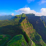 Evening Colours of monsoon, a breathtaking View from Mount Ratangad, Sahyadri, India.