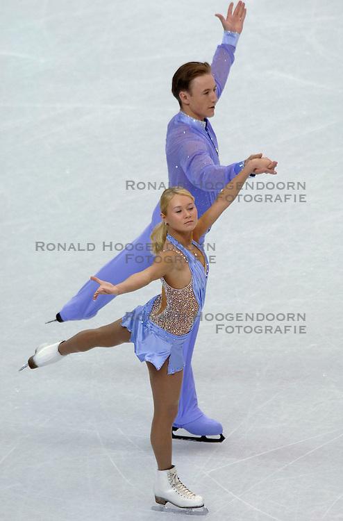 11-02-2006 KUNSTSCHAATSEN: OLYMPISCHE SPELEN: TORINO<br /> Julia Obertas en Sergei Slavnov (RUS) worden 8ste<br /> &copy;2006-WWW.FOTOHOOGENDOORN.NL