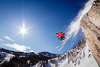 Mike Quigley skiing Brighton Ski Area, Wasatch Mountains Utah.