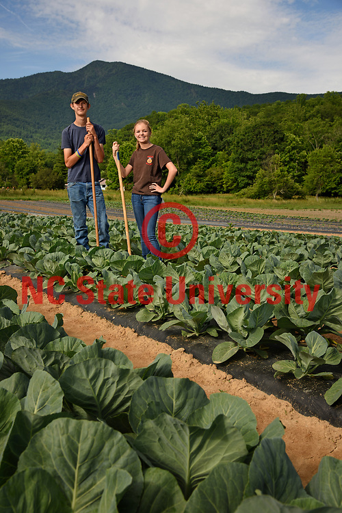 Yancey County FFA members on a farm outside Micaville.