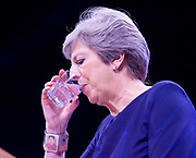 Conservative Annual Conference, Manchester Central, Manchester, Great Britain <br /> Day 4<br /> 4th October 2017 <br /> <br /> Theresa May MP<br /> Leader of the Conservatives makes her Leaders' speech at the end of the 4 day conference in Manchester. <br /> Theresa May was wearing a Frida Kahlo bracelet<br /> <br /> <br /> <br /> Photograph by Elliott Franks <br /> Image licensed to Elliott Franks Photography Services