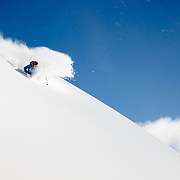 Drew Petersen skiing inbounds powder at Jackson Hole Mountain Resort.