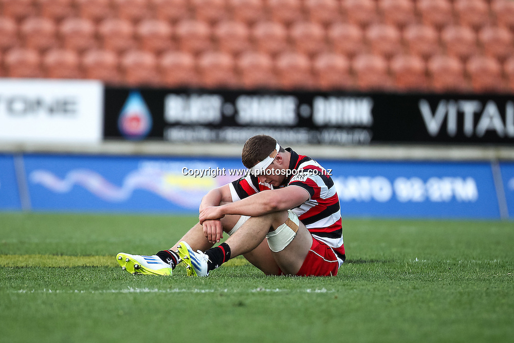 Counties Maunkau's Ronald Raaymakers sits dejected after losing the ITM Cup rugby match - Waikato v Counties Manukau at Waikato Stadium, Hamilton on Sunday 14 September 2014.  Photo: Bruce Lim / www.photosport.co.nz
