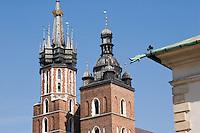 St Mary's Basilica Kosciol Mariacki in Rynek Glowny Krakow Poland