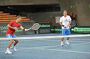 Wroclaw 31/01/2013.Davis Cup .Poland vs Slovenia.Marcin Matkowski and Mariusz Fyrstenberg of Poland during the training session ..Photo by : Piotr Hawalej