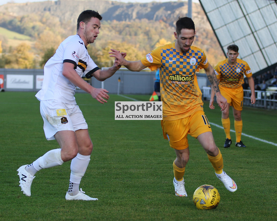 Grant Gallacher holds off Stefan McCluskey during the Dumbarton FC v Morton FC Scottish Championship 31 October 2015 <br /> <br /> (c) Andy Scott | SportPix.org.uk