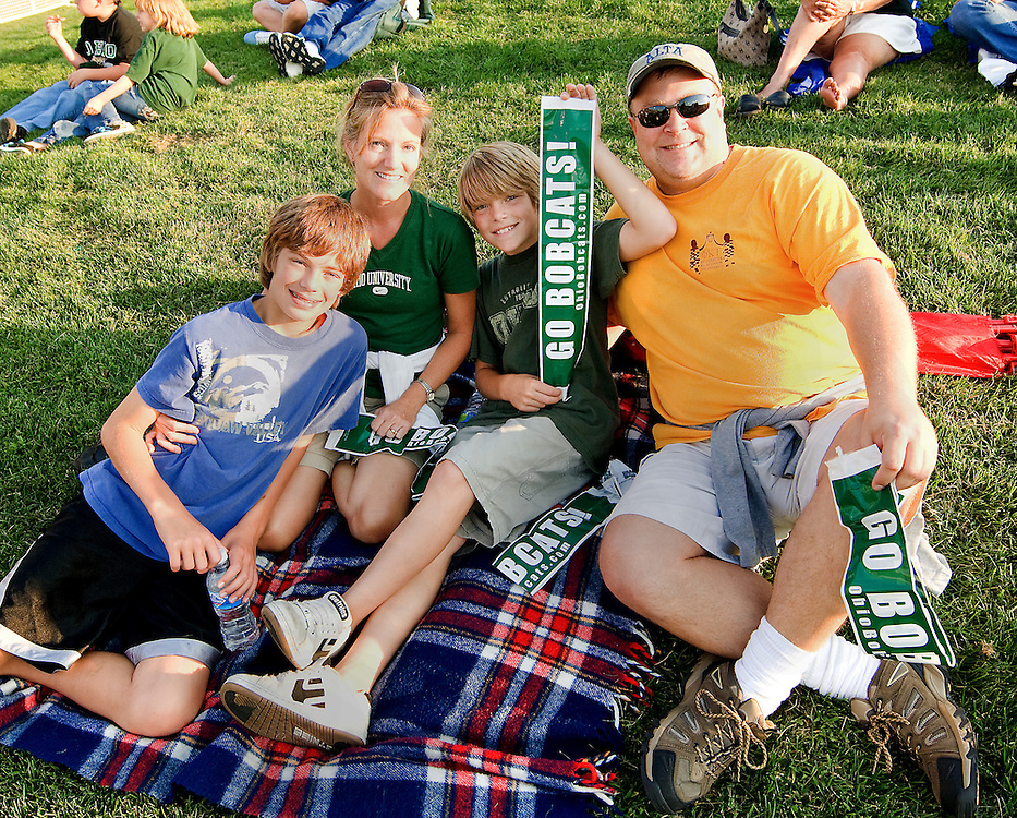 Ohio Alum Karen and Chris Pettit along with their two sons Brenden and Sean, attend the football home game opener on Saturday, September 5, 2009.