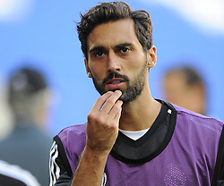 Real Madrid's Alvaro Arbeloa - Photo mandatory by-line: Joe Meredith/JMP - Mobile: 07966 386802 11/08/2014 - SPORT - FOOTBALL - Cardiff - Cardiff City Stadium - Real Madrid v Sevilla - UEFA Super Cup - Press Conference and Open Training session