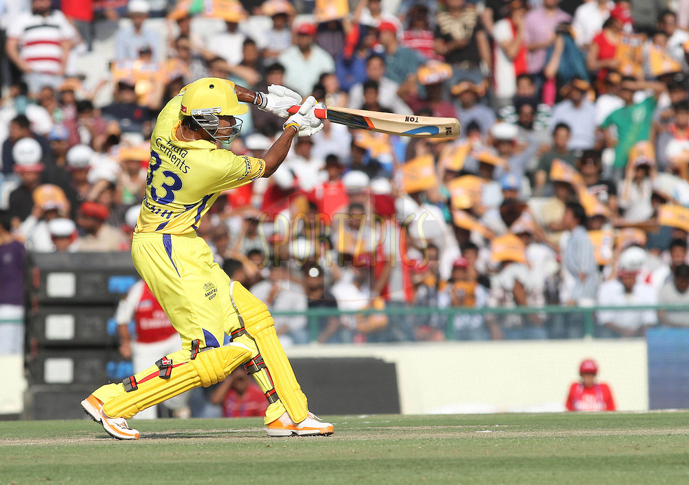 Subramaniam Badrinath of the Chennai Super Kings straight drives a delivery during match 9 of the Indian Premier League ( IPL ) Season 4 between the Kings XI Punjab and the Chennai Super Kings held at the PCA stadium in Mohali, Chandigarh, India on the 13th April 2011..Photo by Shaun Roy/BCCI/SPORTZPICS