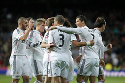 06.12.2014, Estadio Santiago Bernabeu, Madrid, ESP, Primera Division, Real Madrid vs Celta Vigo, 14. Runde, im Bild Real Madrid&acute;s Cristiano Ronaldo celebrates a goal with his team mates // during the Spanish Primera Division 14th round match between Real Madrid CF and Celta Vigo at the Estadio Santiago Bernabeu in Madrid, Spain on 2014/12/06. EXPA Pictures &copy; 2014, PhotoCredit: EXPA/ Alterphotos/ Victor Blanco<br /> <br /> *****ATTENTION - OUT of ESP, SUI*****