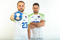 Uros Zorman and Luka Zvizej, former handball players of Slovenia posing for commercial of Rokometna simfonija 2019, on April 14, 2019, in Zrece, Slovenia. Photo by Vid Ponikvar / Sportida