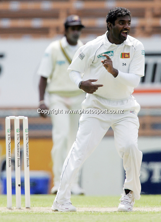 Muttiah Muralitharan celebrates his wicket of Craig Cumming ou for 43 runs on day two of the first cricket test match between the New Zealand Black Caps and Sri Lanka at Jade Stadium, Christchurch, New Zealand on Friday 8 December 2006. Photo: Hannah Johnston/PHOTOSPORT<br /> <br /> <br /> <br /> 081206