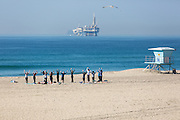 Women's Yoga Group on the Beach in Huntington Beach California