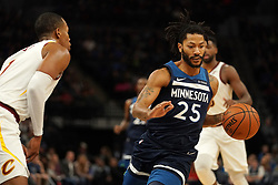 October 19, 2018 - Minneapolis, MN, USA - The Minnesota Timberwolves' Derrick Rose (25) drives against the Cleveland Cavaliers' Rodney Hood (1) in the first half on Friday, Oct. 19, 2018, at the Target Center in Minneapolis. (Credit Image: © Anthony Souffle/Minneapolis Star Tribune/TNS via ZUMA Wire)