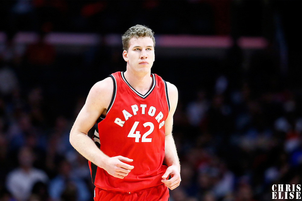 5 October 2016: Toronto Raptors center Jakob Poeltl (42) is seen during the Los Angeles Clippers 104-98 victory over the Toronto Raptors, at the Staples Center, Los Angeles, California, USA.