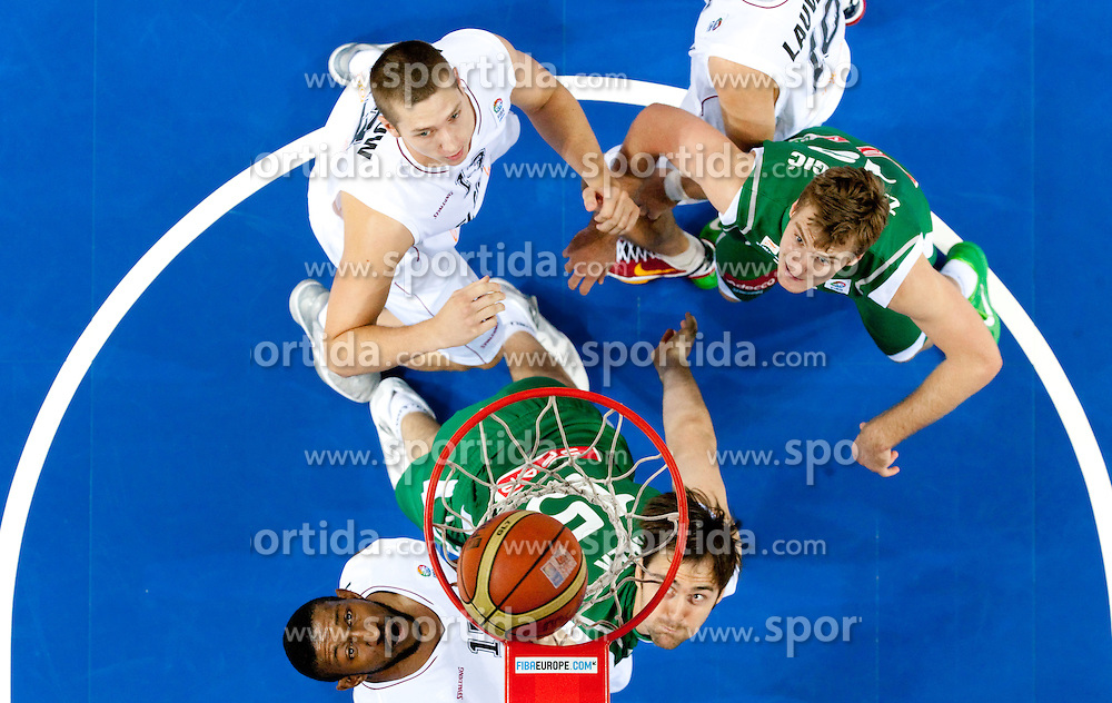 Ilunga Mbenga of Belgium vs Erazem Lorbek of Slovenia and Zoran Dragic of Slovenia during basketball match between National teams of Belgium and Slovenia in Group D of Preliminary Round of Eurobasket Lithuania 2011, on September 4, 2011, in Arena Svyturio, Klaipeda, Lithuania.  (Photo by Vid Ponikvar / Sportida)