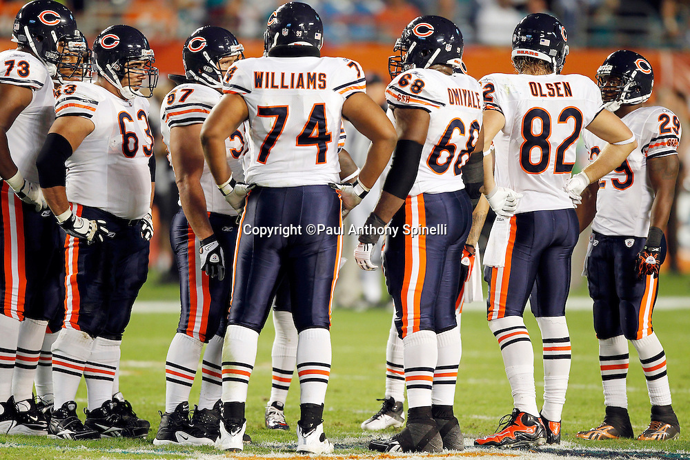 The Chicago Bears offense huddles during the NFL week 11 football game against the Miami Dolphins on Thursday, November 18, 2010 in Miami Gardens, Florida. The Bears won the game 16-0. (©Paul Anthony Spinelli)